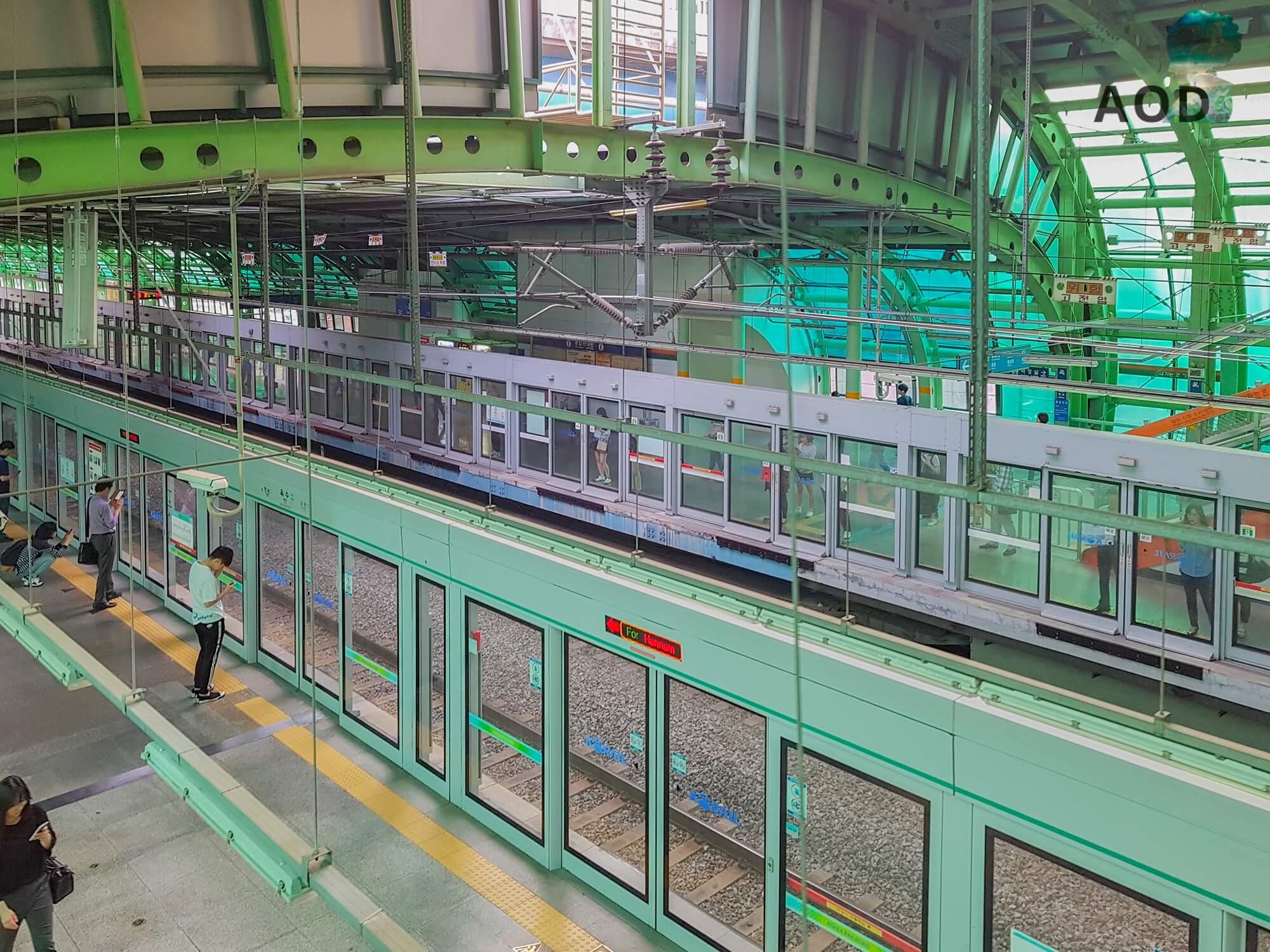 U-Bahn-Schienen und geschlossene Türen