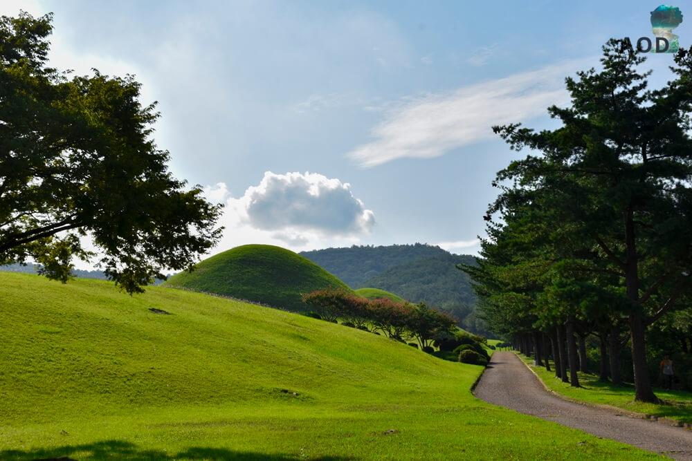 Königsgräber Taejong Muyeol - rechts unter den Bäumen ließ es sich sehr gemütlich sitzen