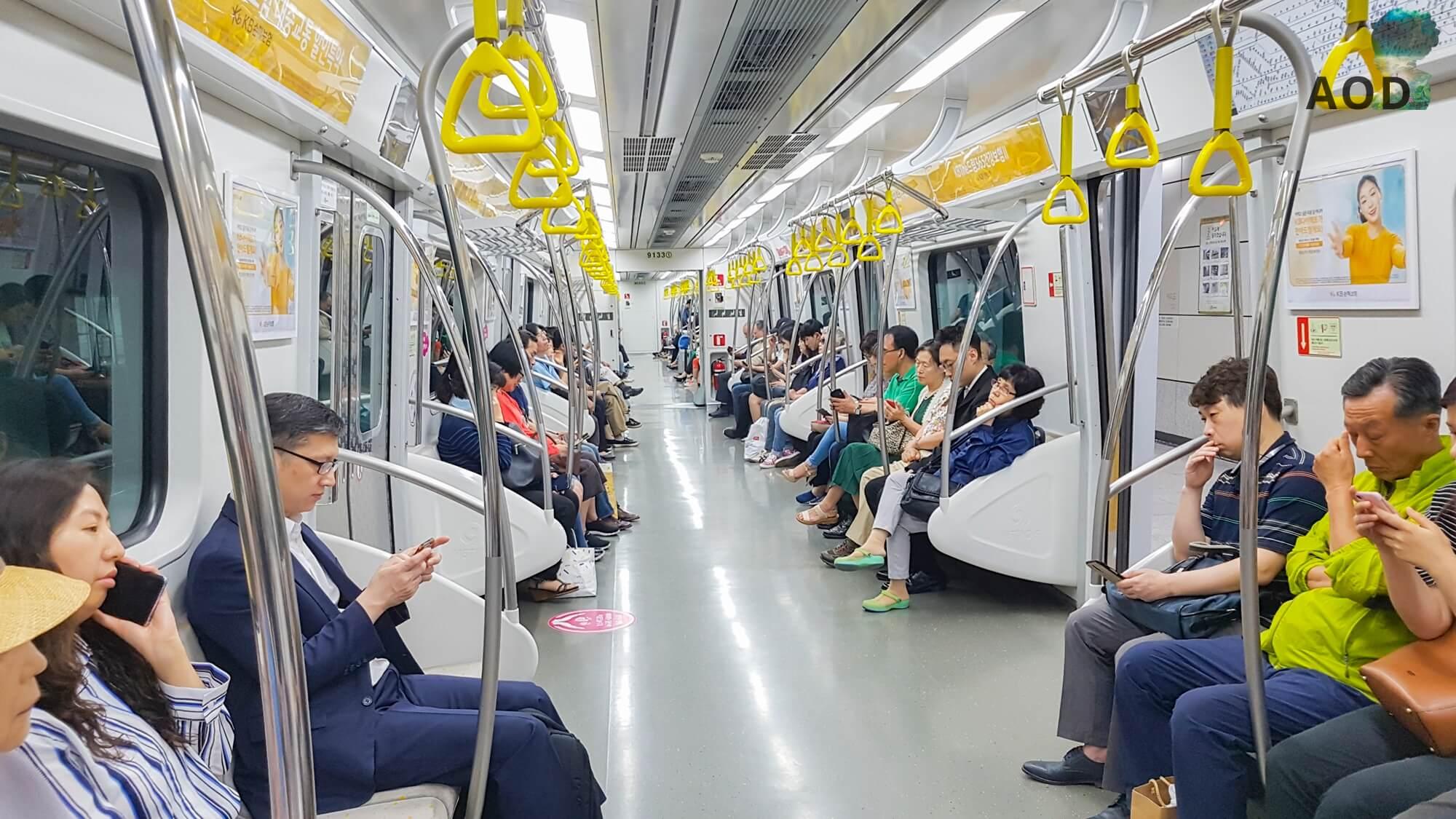 In einer leeren U-Bahn