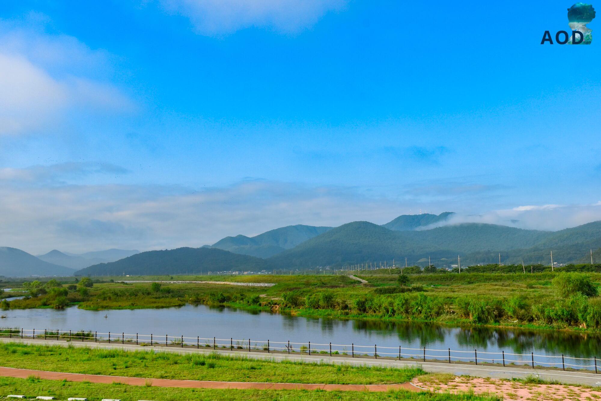 Blick von Gyeongju - morgens Richtung Seondosan