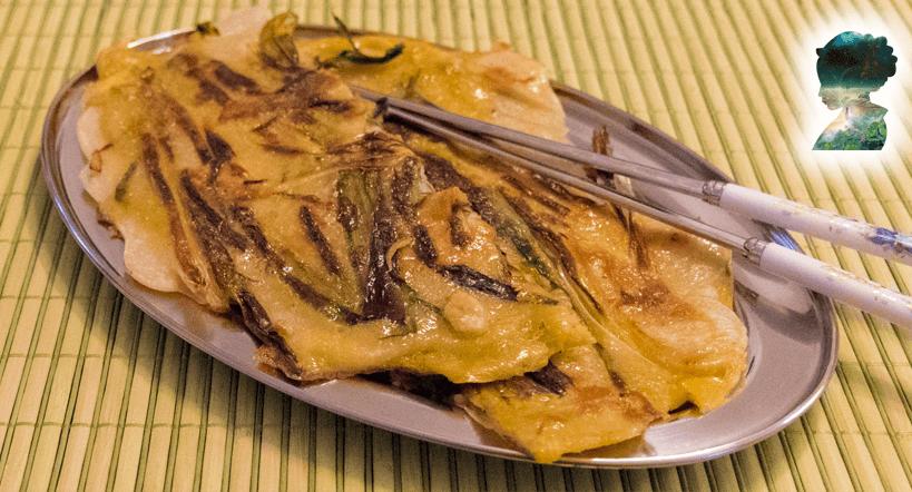 Koreanisch kochen- Pajeon - Schnittlauchpfannkuchen