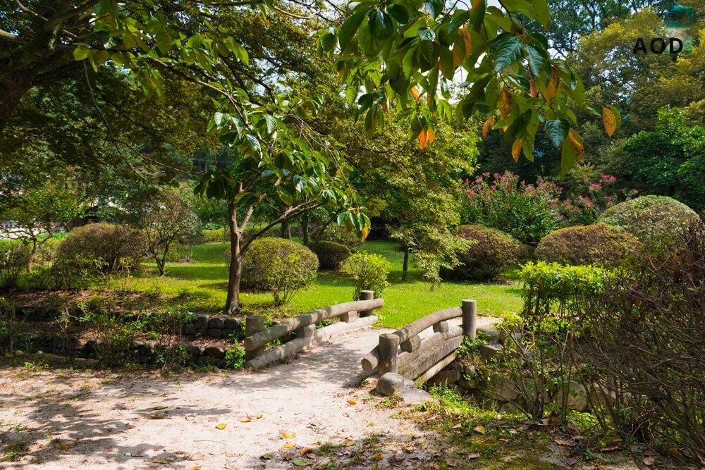 Blick auf die kleine Brücke im Garten