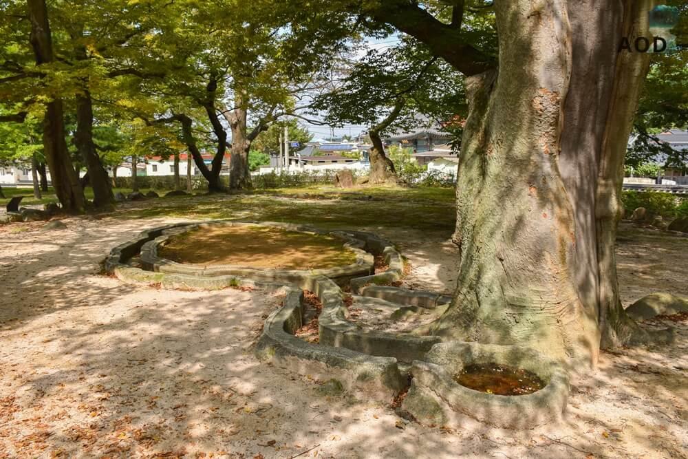 Rinne des Wasserspiels im Garten. Der Wasserlauf wurde damals von den Adeligen bei Festen auch als Trinkspiel genutzt.