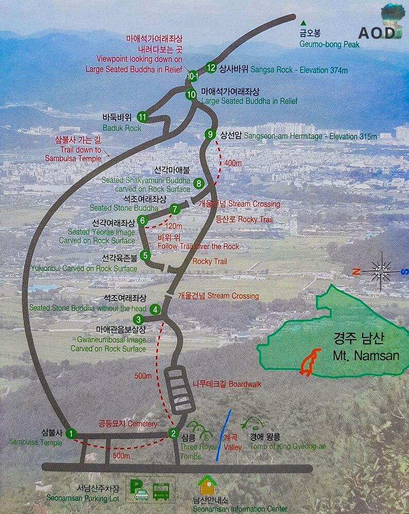 Karte vom Aufstieg zum Namsan
