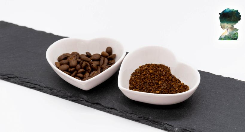 Kaffee in Korea - Kaffeebohne und Kaffeepulver